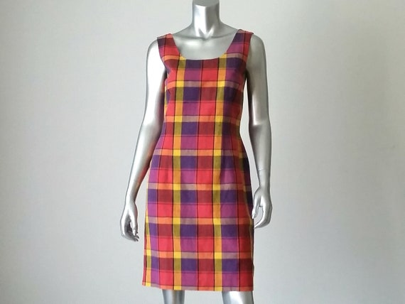 1980s Vintage Linen Rayon Madras Plaid Sheath Dres