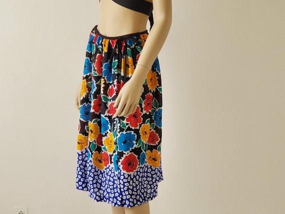 1970s Vintage Black Floral Wrap Skirt, Rose Marie… - image 6