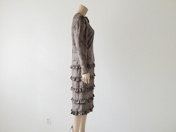 1980s Vintage Silk Tiered Ruffle Dress Long Puffy… - image 4