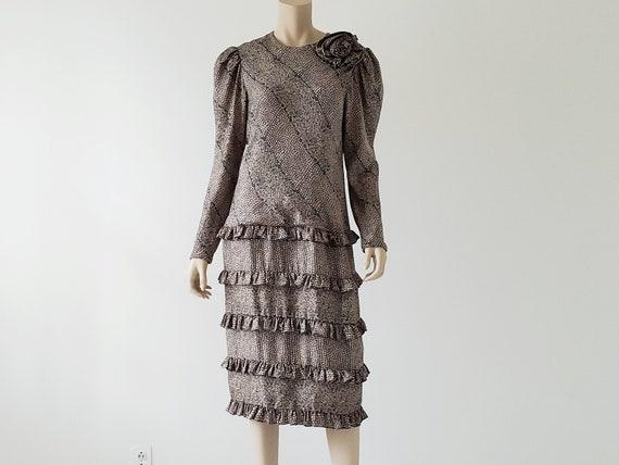 1980s Vintage Silk Tiered Ruffle Dress Long Puffy… - image 10