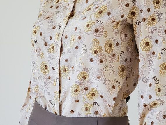 1970s Vintage Floral Button Down Blouse, 70s Flor… - image 5
