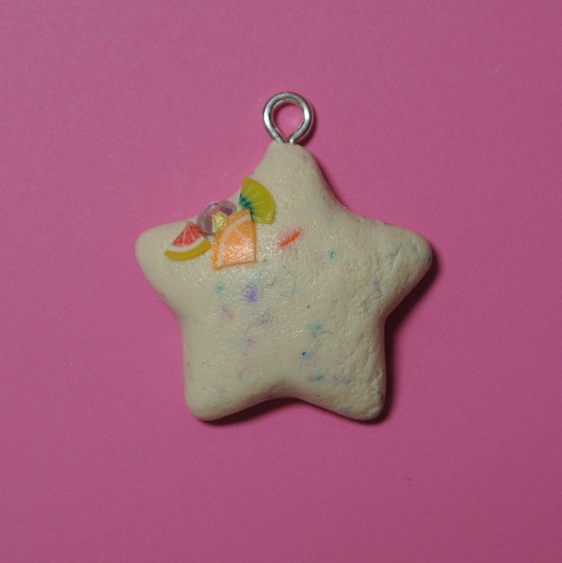 Polymer Clay Star Confetti Cookie Necklace Planner Charm Jewellery EPGreen09