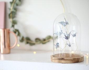 Origami Bell Jar x Paper Cranes / Birds in Flowery Pattern / Paper Folding by Kozouf / Table, Desk or Shelf Decoration