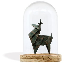 Origami Glass Cloche x Paper Reindeer / Emerald Green Patterned Paper / Paper Folding by Kozouf / Table, Desk or Shelf Decoration