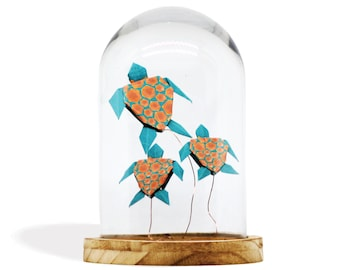 Origami Glass Cloche x Paper Turtles / Brown Shells on Green Paper / Paper Folding by Kozouf / Table, Desk or Shelf Decoration