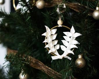 Chritmas Tree Jewel x Origami Wheat Wreath   Decoration   Tree Ornament   White Paper   Kozouf
