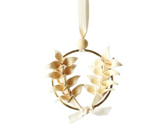 Chritmas Tree Jewel x Origami Wheat Wreath   Decoration   Tree Ornament   Beige Paper   Kozouf