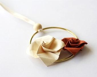 Chritmas Tree Jewel x Origami Roses   Decoration   Tree Ornament   Cream and Terracotta   Kozouf