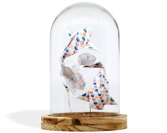 Origami Glass Cloche x Paper Koï Fishes / Coloured Shells / Paper Folding by Kozouf / Table, Desk or Shelf Decoration