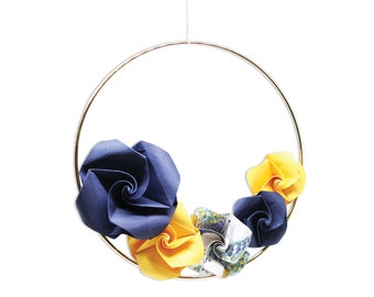 Origami Wreath x Paper Roses / Paper Folding by Kozouf / Hanging Circle / Unique Decoration