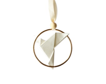 Chritmas Tree Jewel x Origami Dove   Decoration   Tree Ornament   White Paper   Kozouf