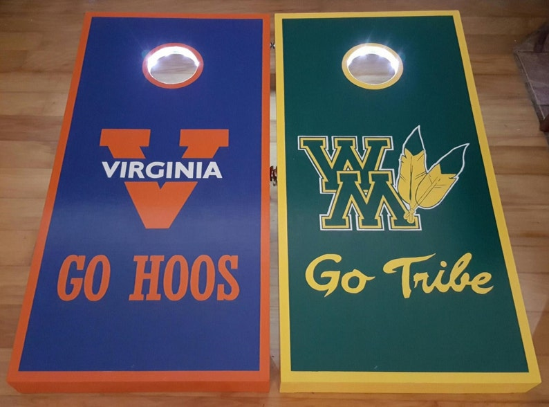 Choose Your State Custom Stained Flag Cornhole Boards Set with Bags Virginia Tennessee