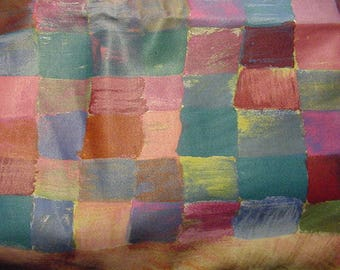 Upholstery Fabric-Multi Colored-Square Design