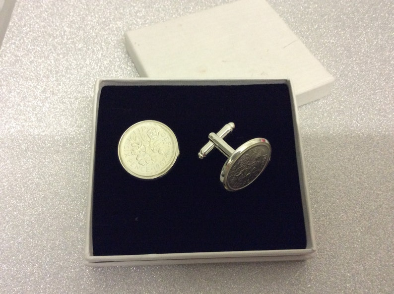 Any date silver sixpence English coin cuff links Or father of the bride gift. 1947-1967 birthday gift