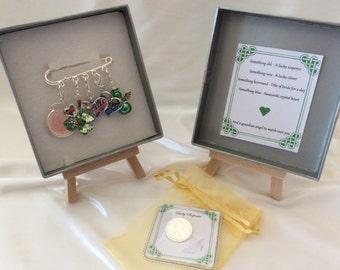 Irish bridal garter charm pin, wedding gift. Something old, something new something borrowed something blue & a silver sixpence for her shoe