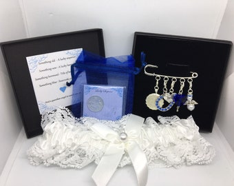 Wedding garter charm pin, bridal gift. Something old, something new, something borrowed, something blue & a lucky silver sixpence in a shoe