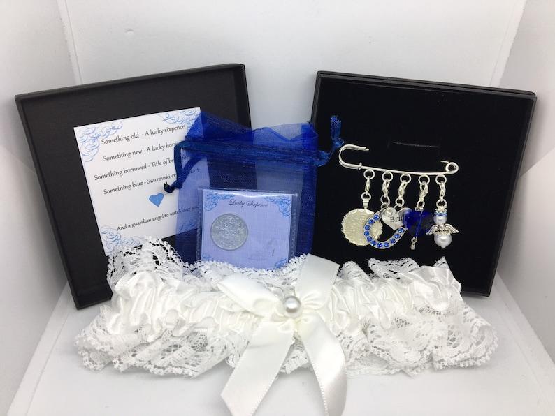 Wedding garter charm pin bridal gift. Something old pin set with garter