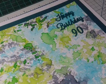 """One of a kind, Hand Painted, Blue, Turquoise, Greens, Purple, Happy Birthday, 90, Any number, in a stunning Gift Box, Name, 8""""x 8"""" Global"""