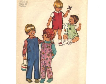 "Vintage Simplicity childrens sewing pattern #5050, ""Toddlers' Jumpsuit in Two Lengths and Shirt"", size 2, breast 21"", waist 20"", from 1972."