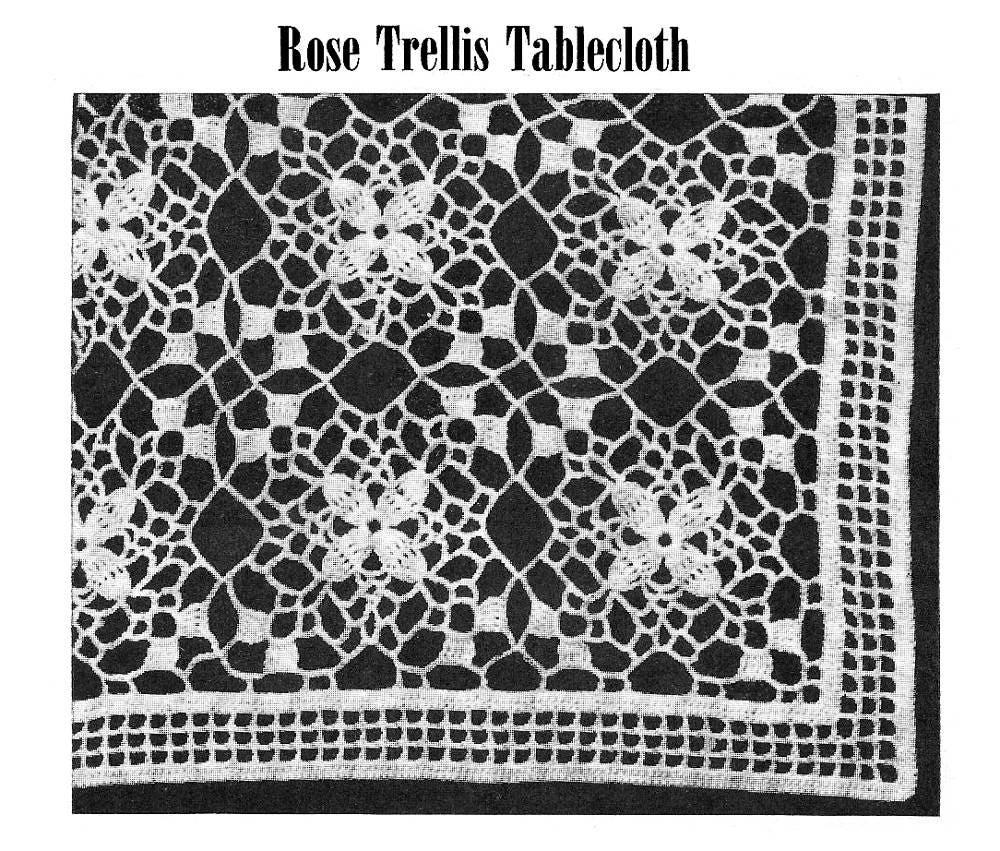 Pdf Of Vintage Crocheted Lace Pattern Rose Trellis Etsy