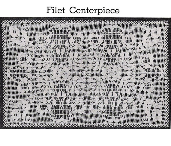 Pdf Of Vintage Filet Crochet Pattern Filet Etsy