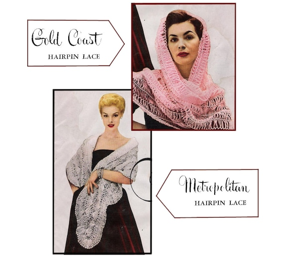Pdf Of Two Vintage Hairpin Lace Shawl Stole Patterns Etsy