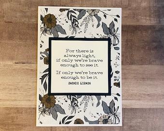 "Handmade ""The Hill We Climb"" Greeting Card | Employee Appreciation Card | Encouragement Card | Amanda Gorman Card"