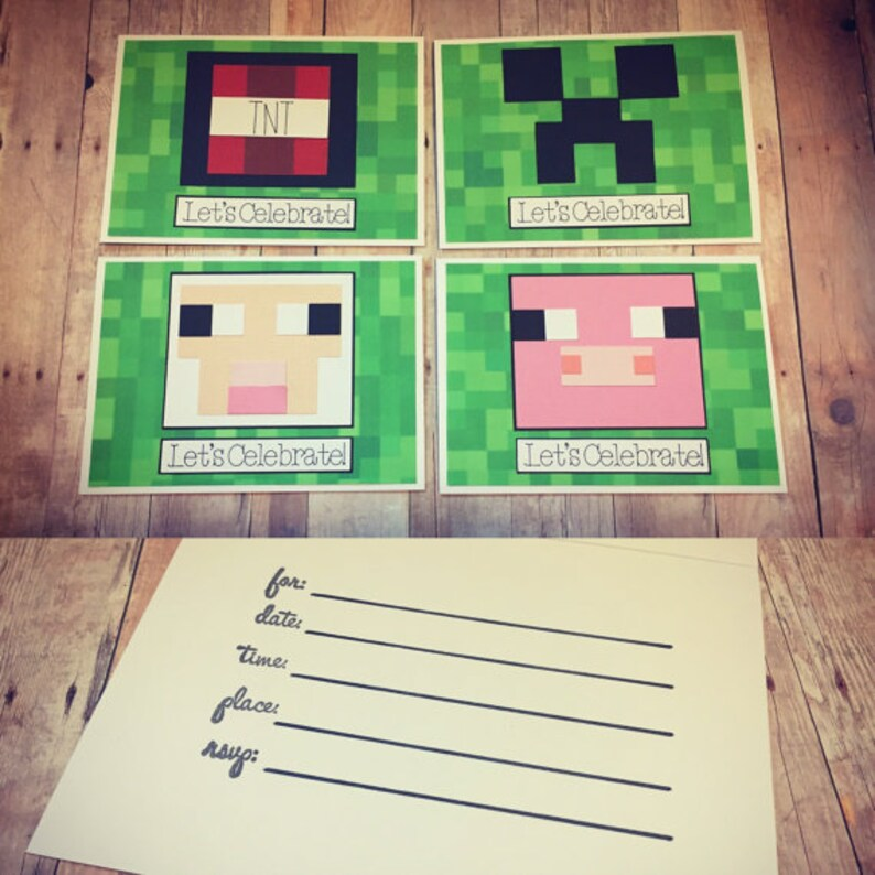 Handmade Minecraft Birthday Invitations  Gamer Themed image 0