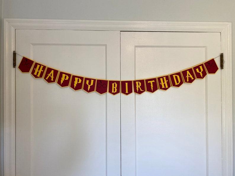 Harry Potter Birthday Banner  Hogwarts Birthday  Harry Gryffindor
