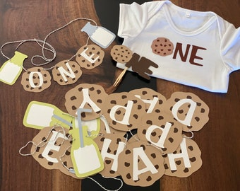 Milk & Cookies Themed First Birthday Decorations Bulk Set | Milk And Cookies Banner | Milk and Cookies Onesie  Milk And Cookies Cake Topper