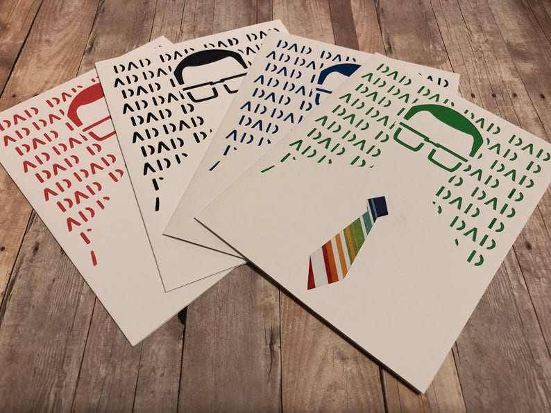 Handmade Happy Father's Dad Greeting Card Hipster Dad image 0