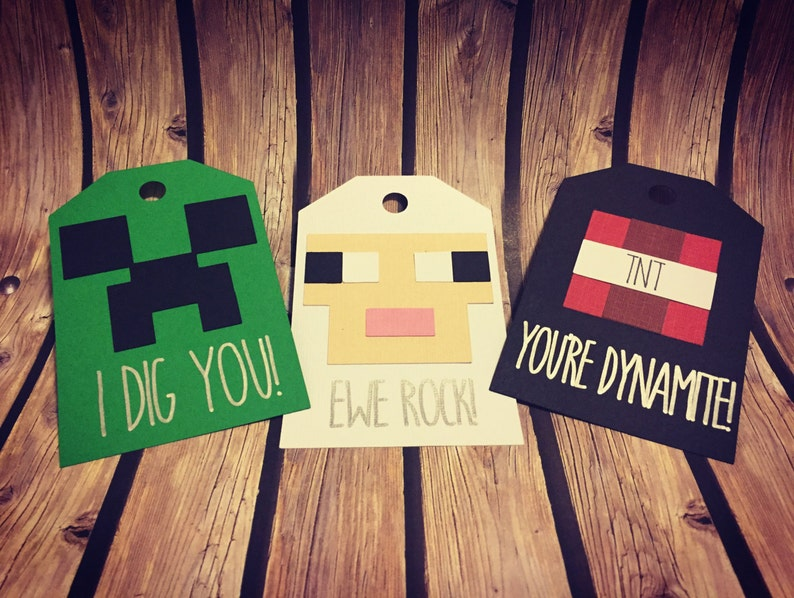 Handmade Minecraft Childrens Valentine Tags Sheep TNT & image 0