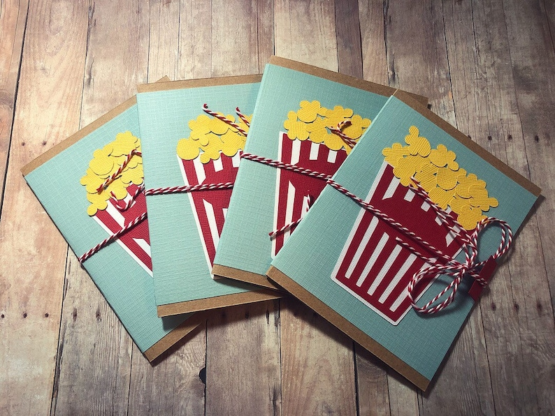 Handmade Popcorn Movie Theatre Ticket Gift Card Holder