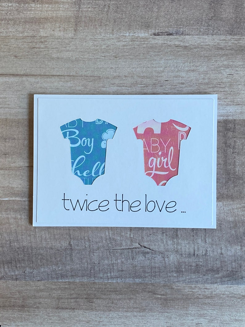 Handmade Twins Baby Shower Thank You Cards Twice the image 0