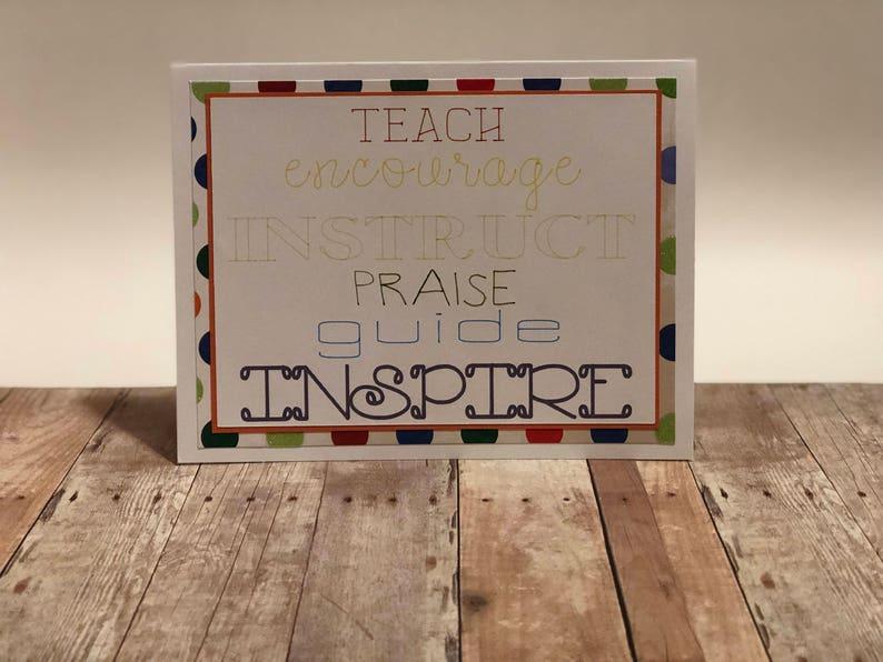 Handmade Teacher Appreciation Greeting Card Teach image 0