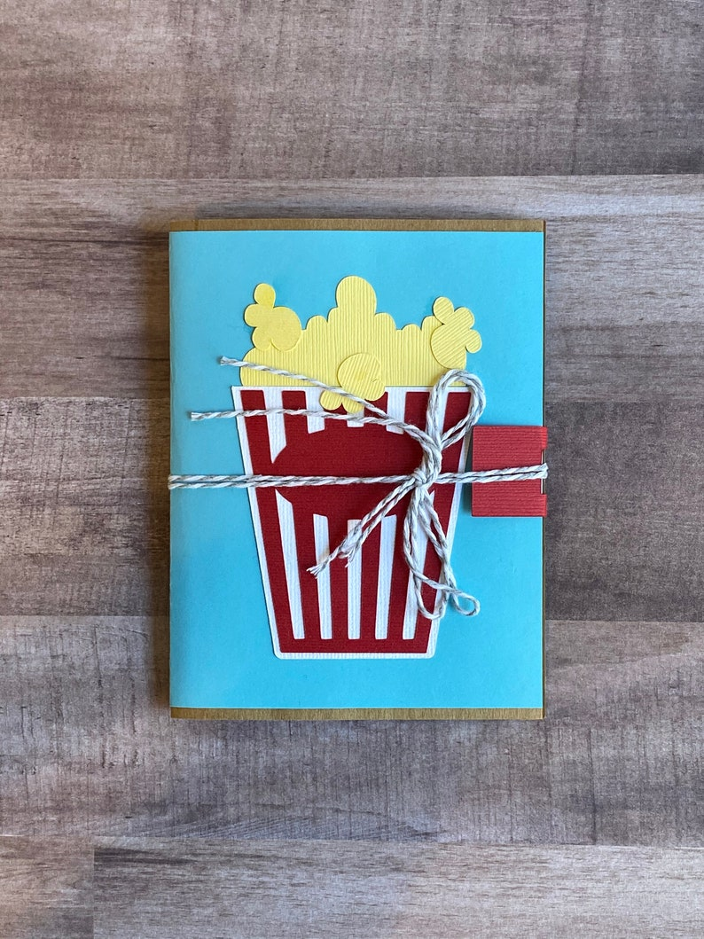 Handmade Popcorn Movie Theater Ticket Gift Card Holder image 0