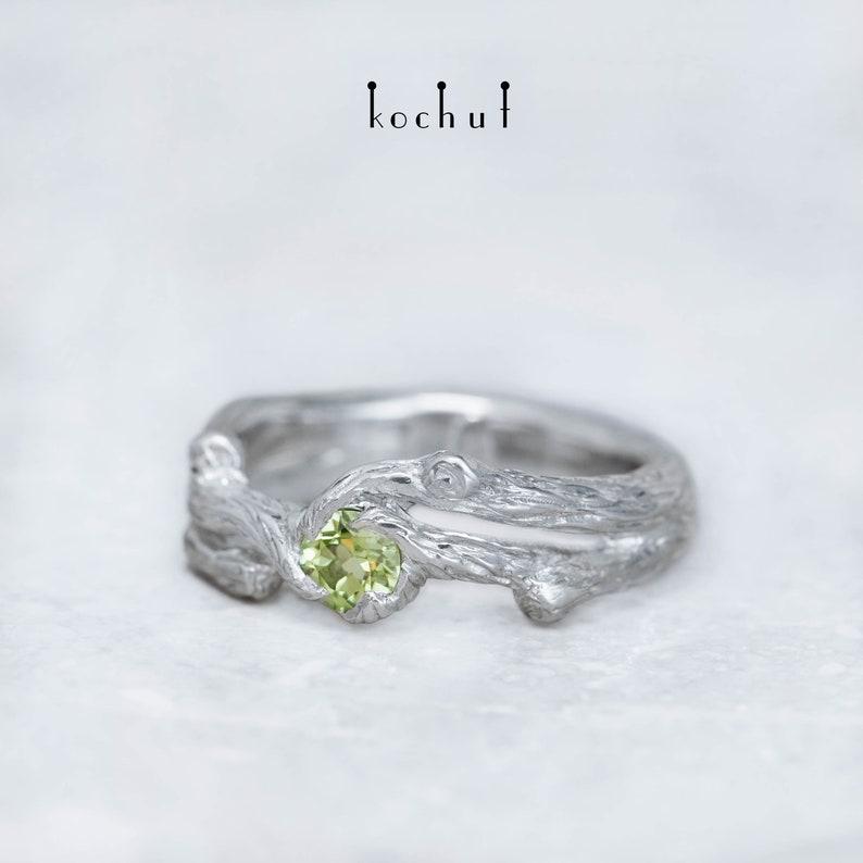 Peridot elvish silver ring Non traditional engagement ring Unique design Handmade