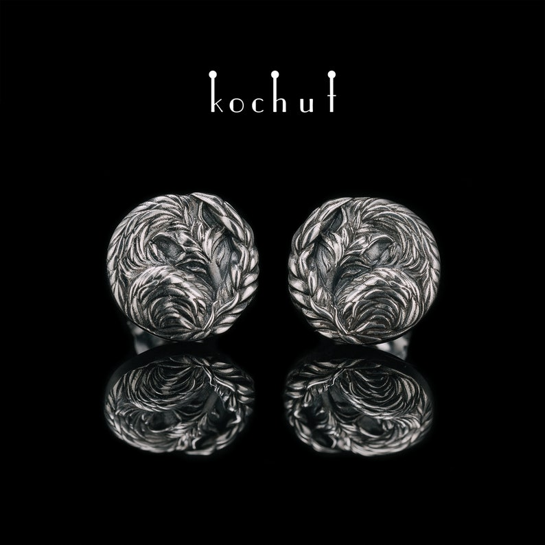 108d885e9edb0 Fox earrings, sterling silver fox, small silver earring, silver studs,  animal, silver earring «Little Foxes» from Kochut collection.