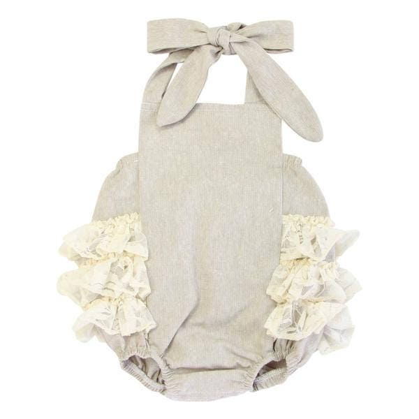 Linen Amp Lace Ruffle Bubble Romper Baby Girl Romper Vintage