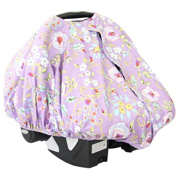 Purple Floral Kinsleys And Blush Car Seat Canopy