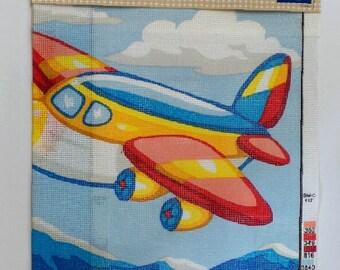 Grafitec NEEDLEPOINT Canvas Print AIRPLANE Print 100% Cotton Made in EU New