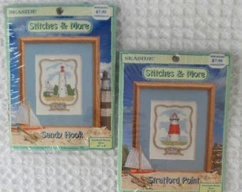 Vintage 1999 Cross Stitch LIGHTHOUSE Sandy Hook + Stratford Point KITS + Rope Embellishments Sealed