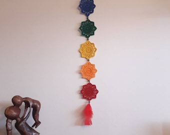 rainbow wall hanging, 7 chakra, mandala wall hanging, chakra banner, chakra tapestry, boho wall hanging, gypsy wall hanging ,crochet chakra,