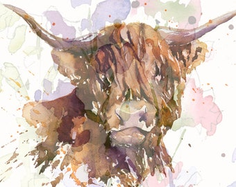 Heilan Coo by Michele Volpe original Gouache painting on 9 X 12 watercolor acid free paper Scottish Highland Cow