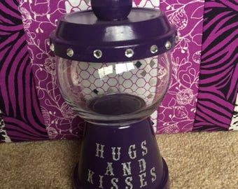 Handmade Gumball-Style Candy Jar - Hugs and Kisses