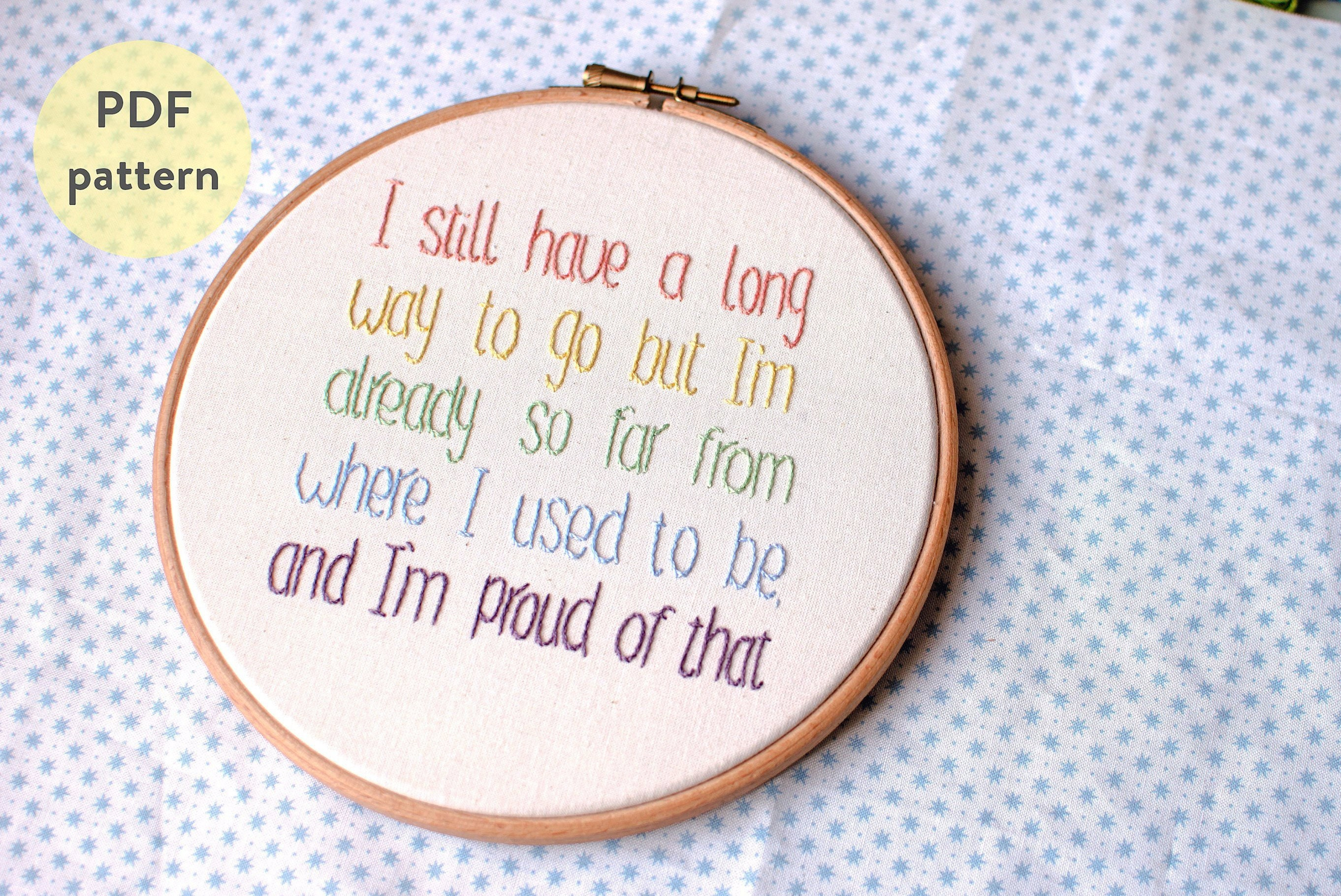 Cross Stitch Embroidery Pattern Pdf Digital Download Mental Health Recovery Empowerment Quote Depression Anxiety Self Care Gift