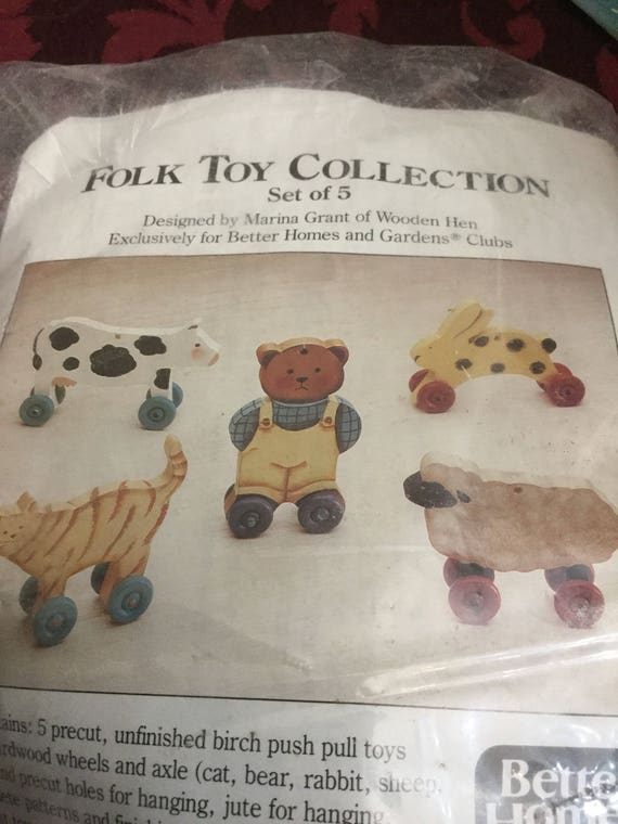 FOLK ART TOYS Kit  Collection 5 Precut Shapes For Old Fashioned Pull Toys Cat Sheep Cow Rabbit Teddy Bear  up to 4 high plus Wheels