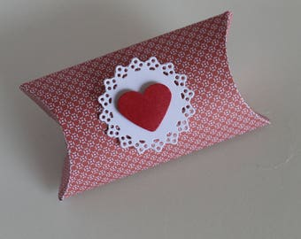 20 Boxes Confetti Pillow box RED HEART Valentine Gift Wedding Favor Mother's Day