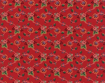 Red Floral Moda Fabric by American Jane out of the Provencal collection sold by the yard