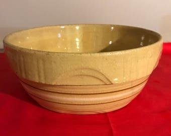 Vintage Ovenware pottery bowl cinnamon brown with crimson and white stripe